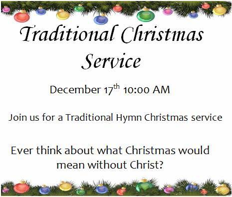 Early Christmas Service – Sunday, Dec 17 @ 10 a.m.